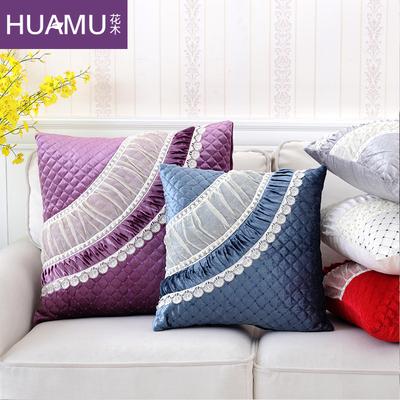 3折出清 蕾丝抱枕套 欧式绗缝靠包套金丝绒靠垫腰枕沙发方枕