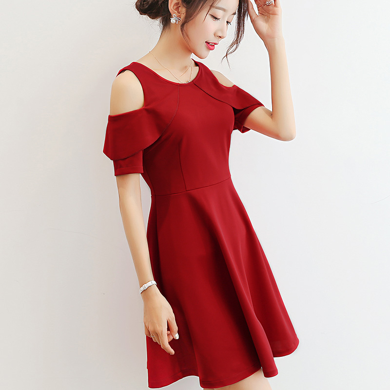 彩黛妃2017夏季新款女装韩版百搭纯色修身短袖显瘦休闲气质连衣裙