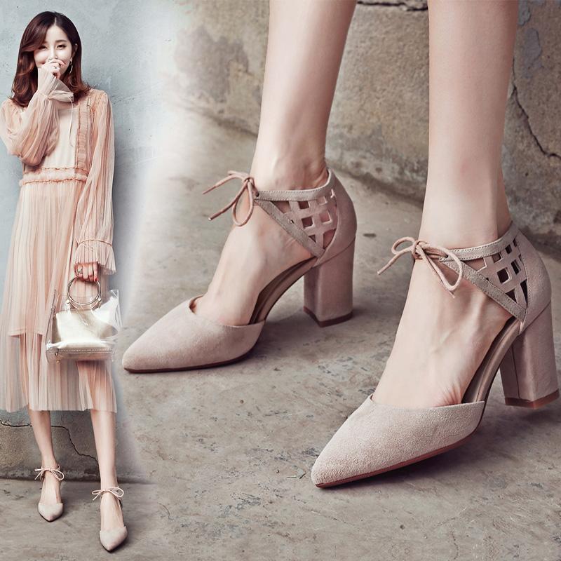 带花女高跟单鞋