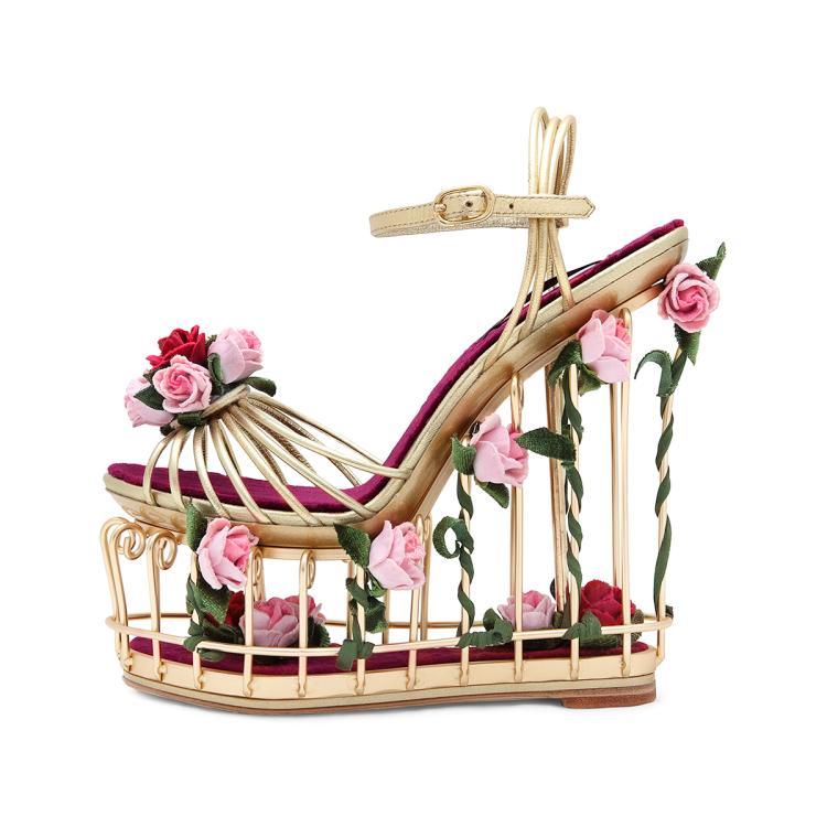 奢华女鞋2018网红欧洲站鸟笼婚鞋高级定制女蔓若婚鞋高跟鞋