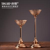 现代欧式复古水晶玻璃西餐蜡烛烛台酒店会所样板房摆件装饰品