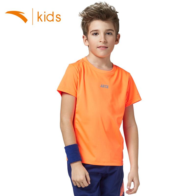 安踏儿童短袖2018夏季新款中大男童运动T恤透气学生上衣舒适休闲