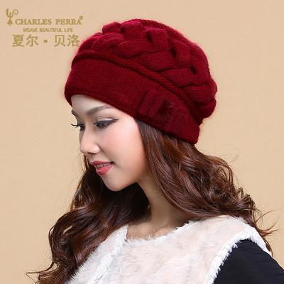 帽子中年女士冬季新品毛线帽韩版潮双层保暖针织兔毛帽护耳羊毛帽