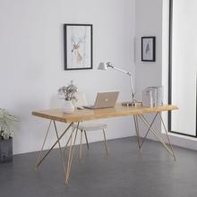 北欧书桌实木电脑桌办公桌工业风餐桌长桌简约现代方桌子铁艺书桌