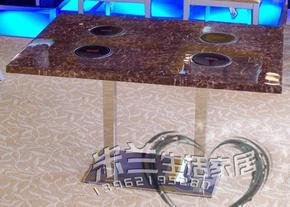 厂家直销批发专业私人量身定制大理石韩式自助无烟烧烤桌火锅桌椅