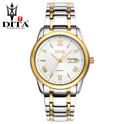 迪塔精钢手表男士全自动机械表镂空腕表钢带男表商务防水时尚