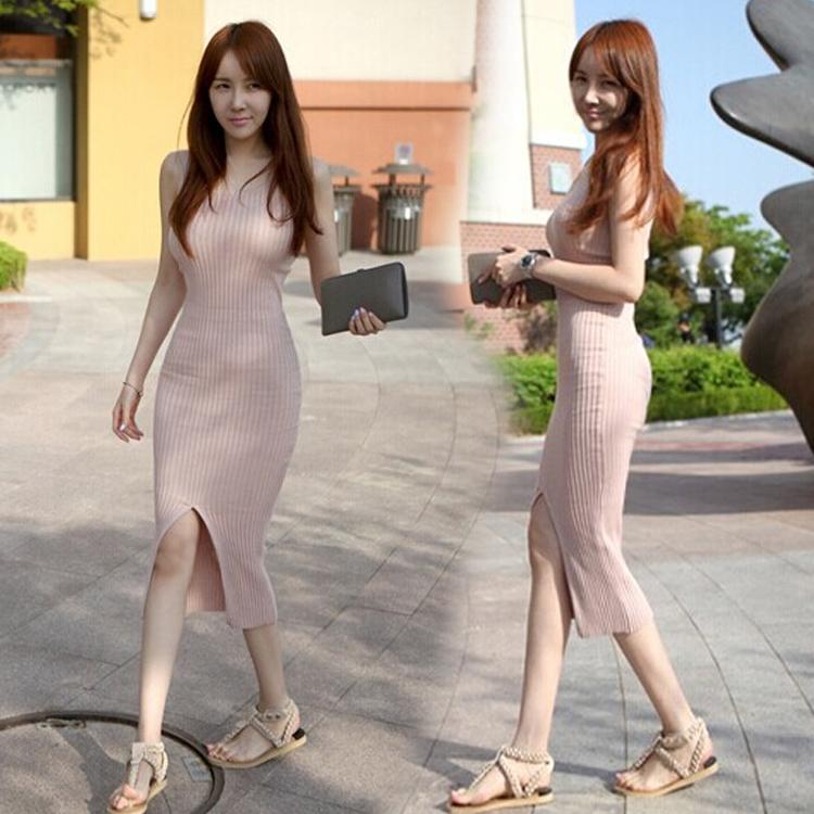 夏装打底针织裙性感修身显瘦开叉包臀裙裙中长款背心连衣裙潮