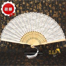 2017新款纯白色中国风7寸女扇子女款折扇日式和风蕾丝多色可选