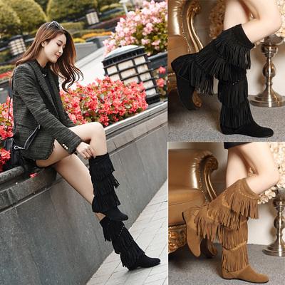 秋冬新款真皮靴子女平底内增高高筒靴长筒靴流苏靴中跟中长靴棉靴