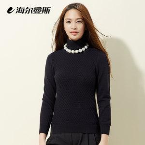 海尔曼斯新款黑色纯色秋冬高领毛衣女短款修身韩版针织羊毛衫套头