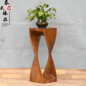东南亚风格实木雕刻大花架异形个性创意方形花架 中式客厅装饰架