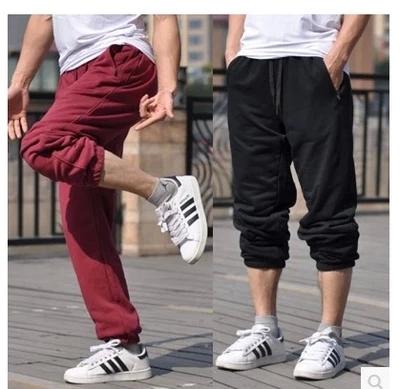 包邮肥佬胖人胖子超大特大码男裤子加肥加大男收口束脚运动裤长裤