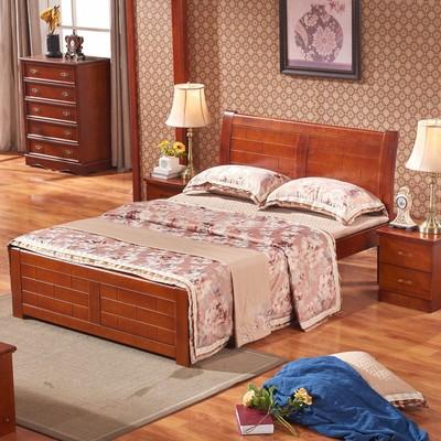 豪爽成军 五包到家现代中式实木床香樟木家具1.51.8米双人床806图片