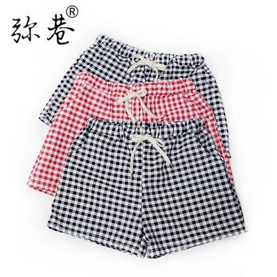 弥巷格子短裤女夏季松紧腰居家睡裤休闲大码运动胖mm百搭热裤