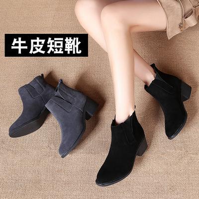 2019新款英伦春秋女鞋粗跟牛皮短靴女靴踝靴单靴加绒短筒马丁靴子