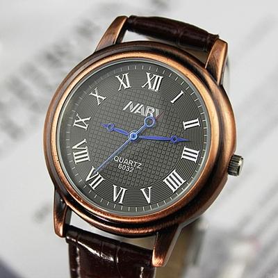 125新潮森女风学生文艺个性复古铜手表数字皮带表装饰表男女式表
