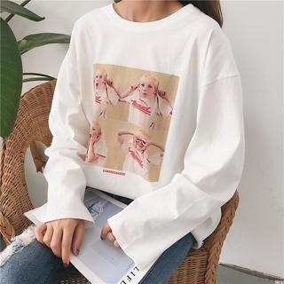 新款T恤秋装新款韩版卡通女式宽松长袖T恤女女装