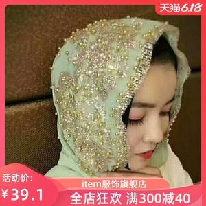 2新款迪拜头巾女 旅游 防晒马来亮丝套头回立体梅花围巾盖头夏季