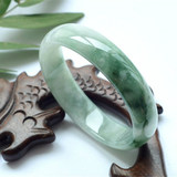 Natural old pit jade bracelet A cargo oil green jade jade bracelet floating flower bracelet chaise longue bracelet jade bracelet children