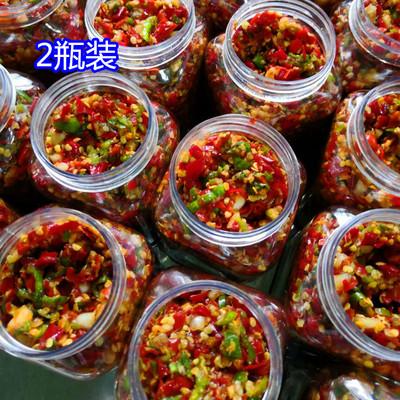 佐飯哥農家自制特產超特辣蒜蓉青紅剁辣椒醬下飯菜瓶裝香辣醬2瓶
