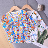 Baby silk sleeve top thin 1 boy and girl five-sleeve air-conditioning suit summer pajama sleeve head bottom shirt