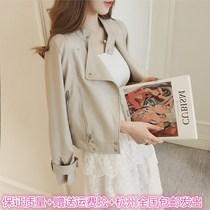 2018秋装新款韩版翻领短款pu皮衣外套女装修身长袖夹克机车上衣女