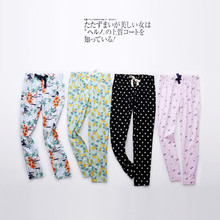 High quality fabric! Spring and autumn thin woven cotton pajamas pants ladies home pants summer air conditioning pants