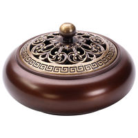 Xuanyuan Pavilion Pure copper incense burner home indoor purification air sandalwood furnace for Buddha aromatherapy furnace antique dish incense burner