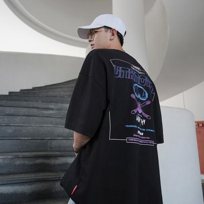 2019夏季男装潮流印花宽松短袖T恤男韩版圆领上衣青少年半袖体恤