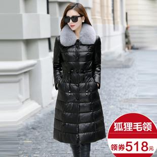 2017冬季新款海宁真皮狐狸毛皮羽绒服女中长款绵羊皮加厚皮衣外套