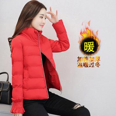 2017冬季新款棉服修身小外套立领荷叶边袖口显瘦保暖棉衣女潮