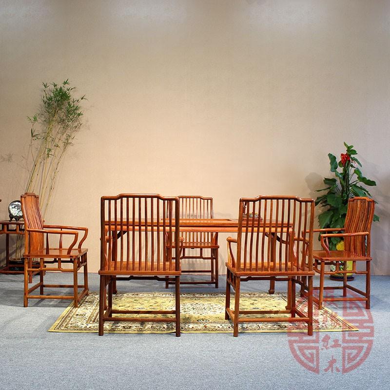 红木家具缅甸花梨木明式茶台大果紫檀实木休闲桌功夫茶桌组合