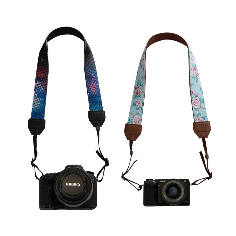 相机背带微单单反挂脖文艺图案带挂绳通用