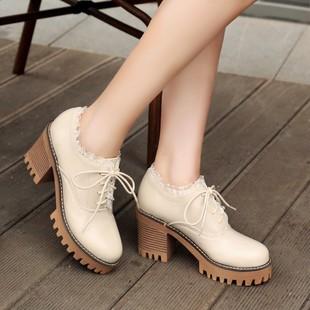 秋冬女鞋加绒保暖二棉鞋复古蕾丝厚底高跟鞋粗跟防水台学生鞋单鞋