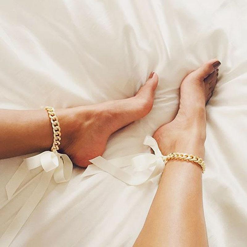 金属粗链条织带自由打结项链锁骨链 欧美大气时尚性感系带脚链