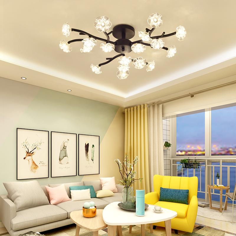 吸顶灯主卧室灯饰简约后现代大气家用客厅灯创意北欧树杈灯具led