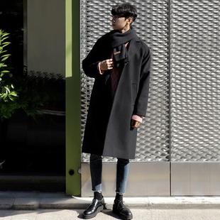 大衣男中长款厚冬季毛呢大衣男士ifashion宽松毛呢子外套韩版落肩