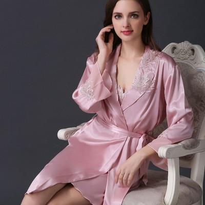 新款纺真丝睡衣女性感吊带睡袍两件套长袖睡裙丝绸大码家居服