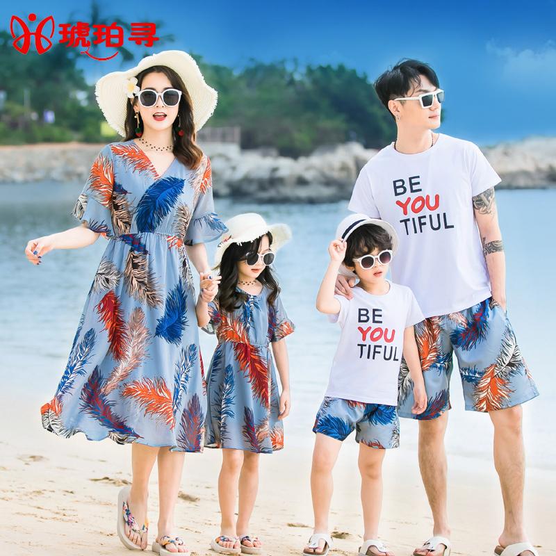 全家装亲子装母子套装母女海边夏装2019