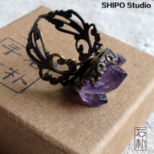 Amethyst Ring Female Pure Crystal Cluster Hand-made Bronze Engraved Air Quality Simple Mouth Ring Two Packages