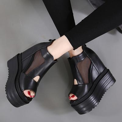 坡跟超高跟凉鞋12CM防水台松糕厚底网纱鱼嘴鞋春夏新款内增高女鞋