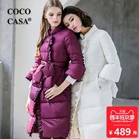 2017新款公主羽绒服女中长款白紫色修身系带长款甜美韩版复古时尚