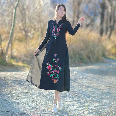 莱克丝诺原创民族风女装长袖连衣裙刺绣花复古立领雪纺拼接中长裙