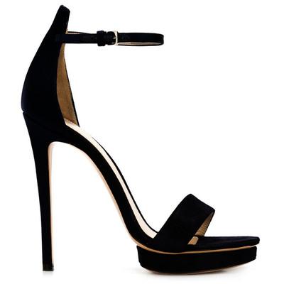 磨砂皮细跟超高跟凉鞋纯皮纯色时尚欧美风真皮大牌一字带扣带女鞋
