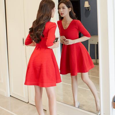 高腰蓬蓬裙春夏装2018新款女韩版收腰小香风红色针织连衣裙短袖