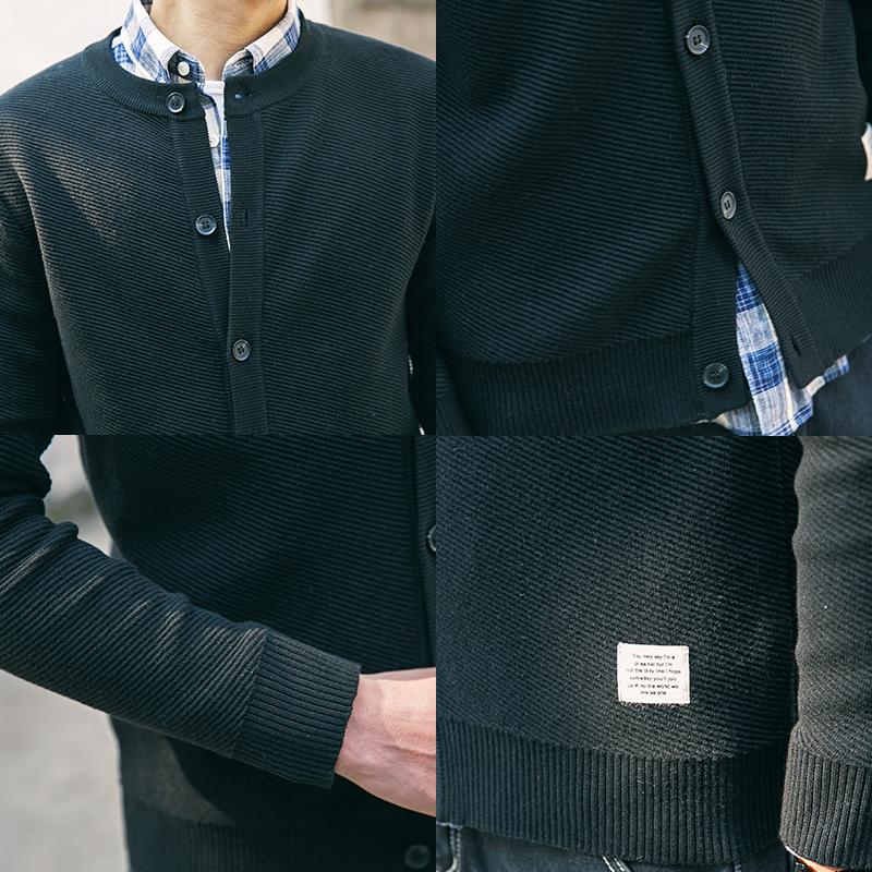 日系圆领针织开衫男外穿潮流修身纯色毛衣外套男韩版休闲ins帅气