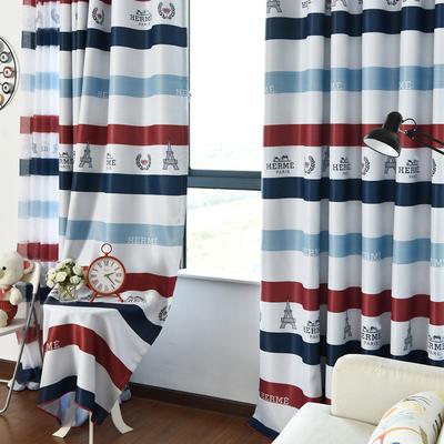 英伦条纹地中海风格儿童房卡通客厅卧室环保遮光定制窗帘布料成品哪个牌子好