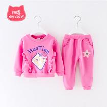 0小童洋气1女宝宝冬季2韩版女童冬装公主套装时髦3岁婴儿童潮衣服