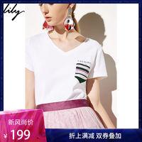 预售Lily2019春新款女装撞色字母印花口袋拼接V领短袖含棉T恤