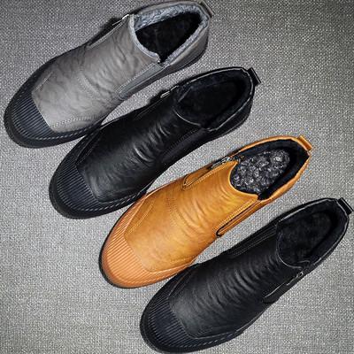皮鞋男高帮鞋一脚蹬棉鞋加绒保暖男士休闲板鞋雪地靴高邦冬季男鞋